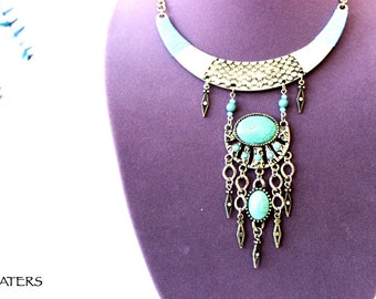 Turquoise Boho Necklace, Bohemian Jewelry, Ethnic Necklace, Turquoise Bib Necklace