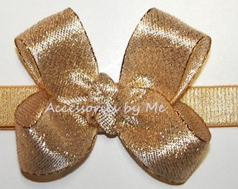 Gold Baby Headband, Tiny Mini Bow, Metallic Lame Thin Band, Choice Gold Silver Newborn Infant Girls Bow Band, Wedding Gold Silver Hair Bands