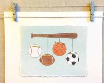 Sports Artwork, Sports Print, Hugs and Kisses XO Artwork