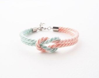 Bridesmaid bracelet - nautical knot rope bracelet - tie the knot bracelet - will you be my bridesmaid bracelet - light mint peach wedding