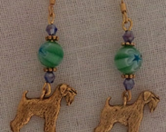 Wheaton Terrier Pewter Gold Charm Earrings Green Glass with Blue Star Beads w/Gold
