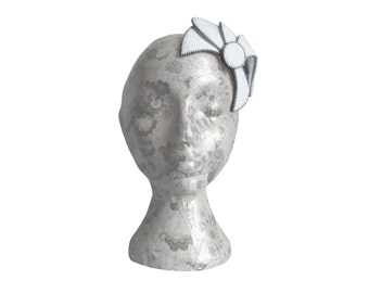 White & Silver Fascinator - Zip and Felt