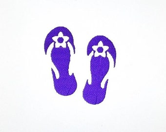 Daisy Flip Flops Embroidery Design, Summer Shoes Silhouette Pattern