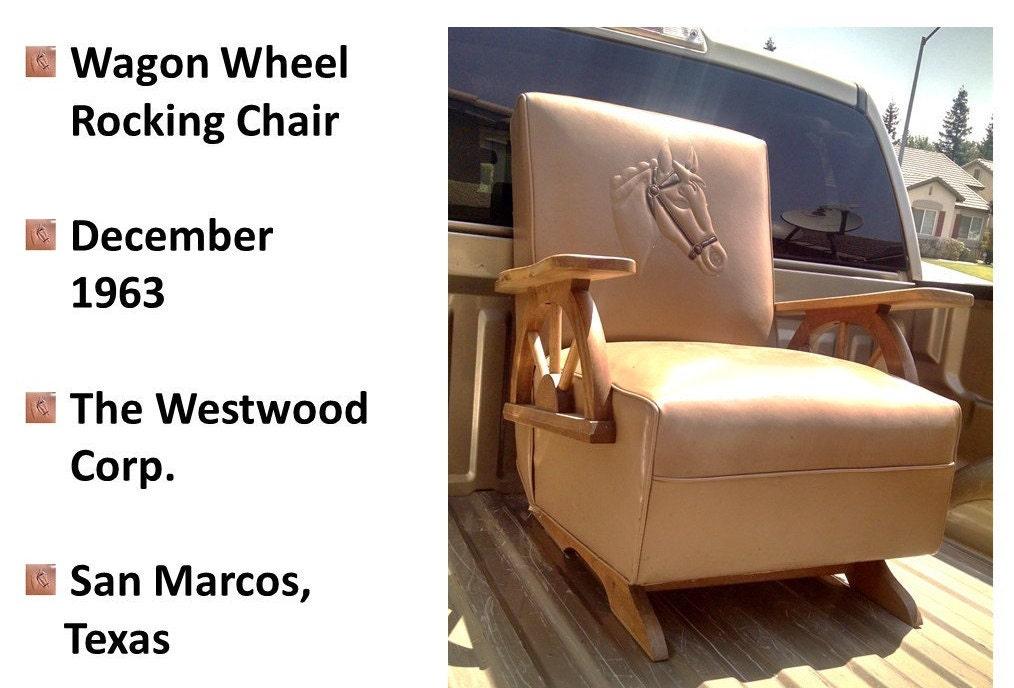 Mid Century Wagon Wheel Rocking Chair Embossed Horse,1960s