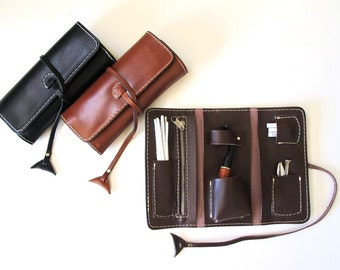 Handmade leather pipe pouch available in three colors