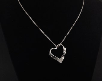 Mobius pendant etsy heart shaped mobius strip pendant in solid argentium sterling silver mozeypictures Image collections