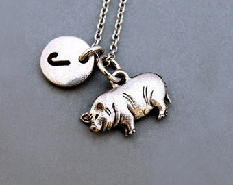 Potbelly pig necklace, Pot-bellied pig, initial necklace, initial hand stamped, personalized, antique silver, monogram
