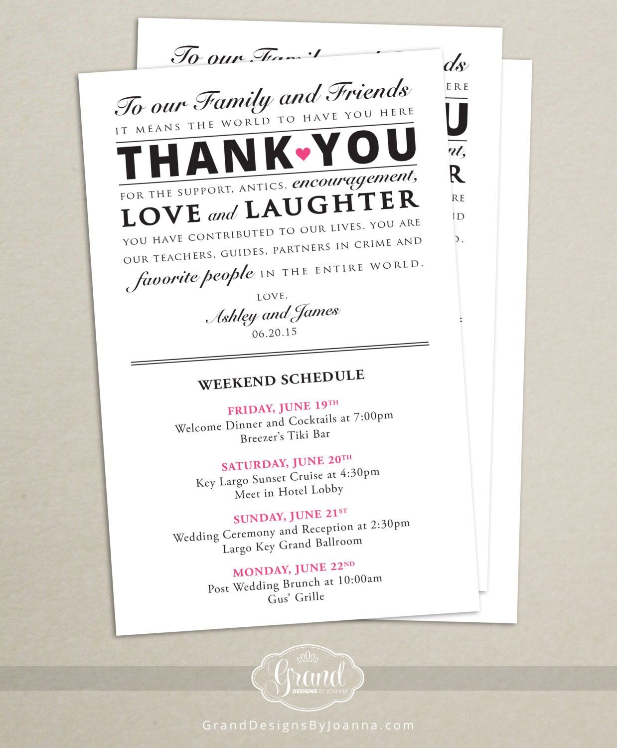 Wedding Hotel Gift Bag Poems : Itinerary Cards for Wedding Hotel Welcome Bag Printed