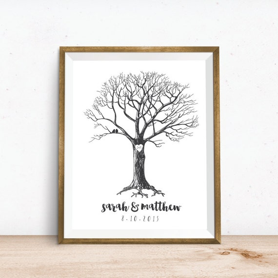Art Print. New Couple Wedding Gift. Custom Tree Art Print. Wedding ...
