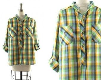 1970s green plaid shirt •  roll up sleeve blouse • green plaid blouse M
