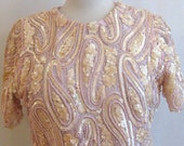 Pink Cocktail Party Blouse Top Medium M 8 Sequins Beaded Lined Vintage