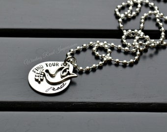 SALE-Find Your Peace- Hand Stamped Necklace with Dove