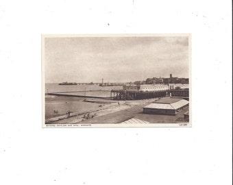 1930-40s Black & White Photo Postcard of Bathing Pavilion and Pool, Margate, England, Un-Posted, Vintage British Postcard, Ephemera