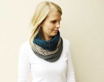 Color Block Skinny Cowl Scarf, Blue, Titanium and Gray Infinity Scarf, Cowl, Blue/Grey/Dark grey crochet scarf, gift for her, handmade