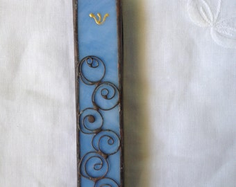 HANDMADE MEZUZAH CASE  Special Light Blue Color.Wall Hanging,Judaica Art,Filigree,Beautiful Stained Glass Jewish Gift,Ethnic Tiffany Vitrage
