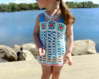 Island Princess Swimsuit Cover - PDF crochet pattern - beach, ocean, lake, swimsuit, bathing suit, cover up, toddler, child, girls, swimming