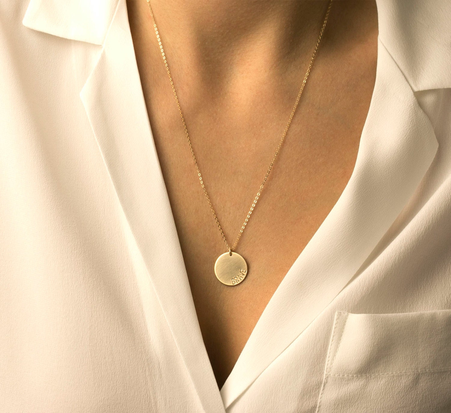 Large Gold Circle Necklace Simple Everyday Disc By