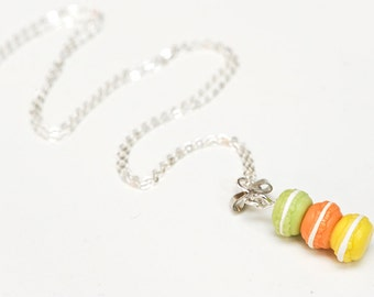 Miniature round Macaron stack Necklace (green, orange & yellow) - polymer clay macaron - food jewellery - gelati colours
