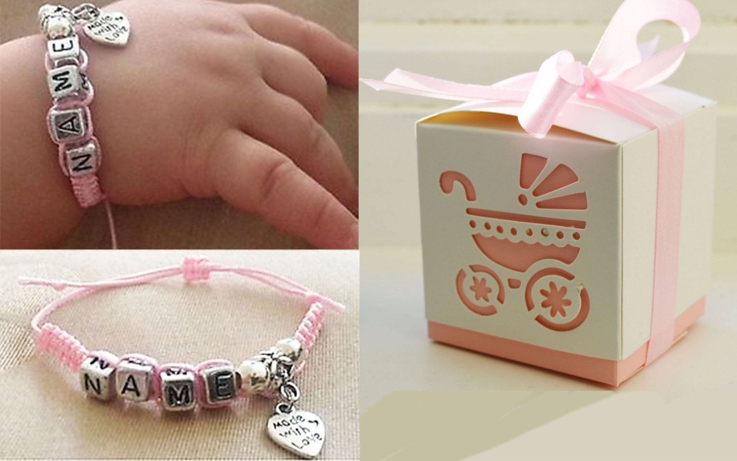 Baby bangle gift box : Baby name bracelet with gift box by simpleandsmall on