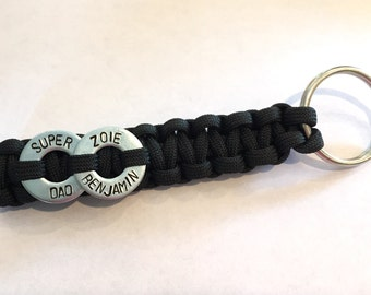 Personalized Father's Day Two Washer Paracord Keychain - Birthday Dad, Best Dad, Father's Day, My Hero