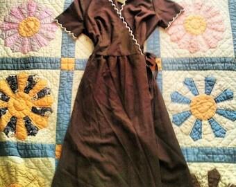 Vintage Linen Wrap Dress S/M Adjustable