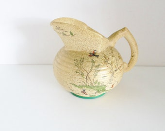 Vintage Art Deco Jug Pitcher Vase By Parkleigh Hand Painted Flower Design Green Gold Made in England Circa 1930s