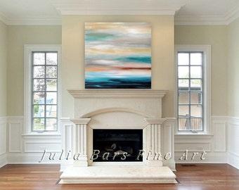 Coastal Art Print, Modern Wall Art, Seascape Print, Abstract Giclee Print on Canvas, Blue Artwork, Turquoise Art, Large Canvas Print