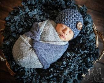 Newborn Hat - Ready to Ship - Denim Blue Newborn Hat with Button - Great Gift or Photo Prop - Newborn Hats