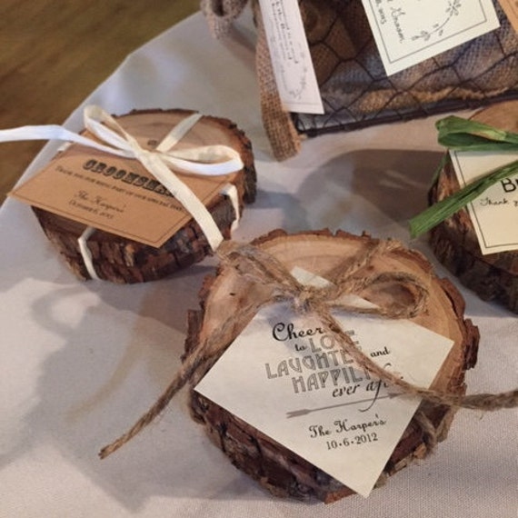 Ideas For Wedding Favors For Guests: Set Of 2 Wood Coasters Rustic Wedding Favors Bridal Party Or