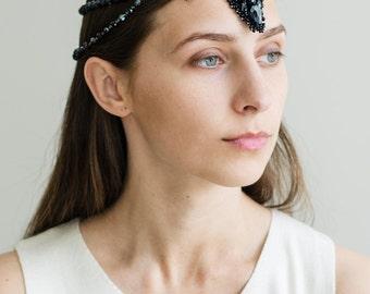 Black crystal women head piece - fashion statement headpiece - designer exclusive hair jewelry - hair beads accessories - black Head chain