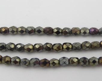 Czech Glass 6mm Fire Polish Bead Brown Iris  50 Pieces