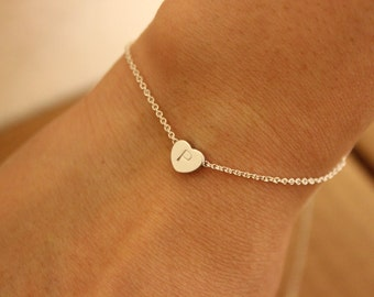 Also available in gold, tiny silver heart initial bracelet, dainty initial bracelet, delicate bracelet, sister gift, bridesmaid gift, thin .