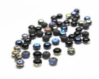 Black AB Rondelles Faceted in Shades of Blue, Green and Purple 7mm 12pcs