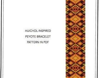Pattern, peyote bracelet - Ethnic inspired Huichol Native styled peyote bracelet cuff with rhombuses pattern in PDF - instant download