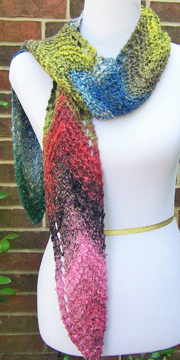 Quincy Noro Chevron Lace Scarf Hand Knit in Cotton Silk Wool