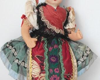 Traje Vintage muñeca bordado de encaje Bohemia chica / europeo hecho a mano única Brocade encajes disfraz muñeca de trapo