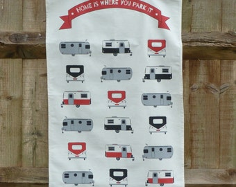 Caravan tea towel, 100% unbleached cotton, gift for caravan lovers