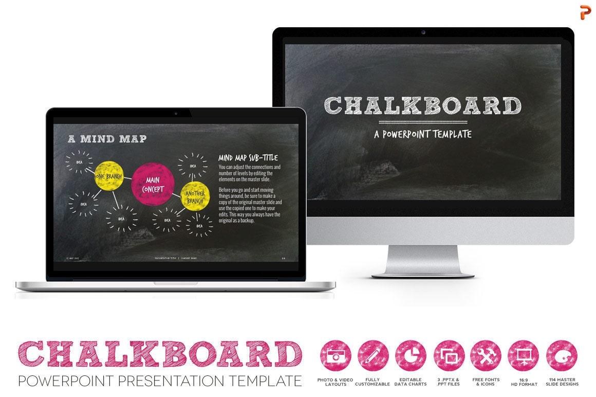 Chalkboard powerpoint presentation template for creative for Chalkboard powerpoint templates free download