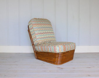 Paul Frankl Stacked Base Chair Deco Rattan New Upholstery Fabric 40's 50's Mid Century Modern Bamboo Retro