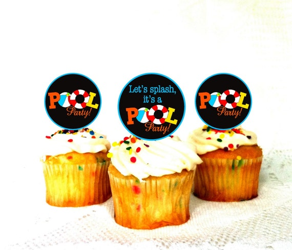 Pool Party 2 Party Circles Cupcake Toppers By