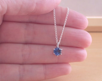 "925 Sapphire (Lab Created) Pendant & 18"" Chain/Sapphire Jewelry/Silver Sapphire Necklace/Sapphire Pendant/September Birthstone Jewellery/925"