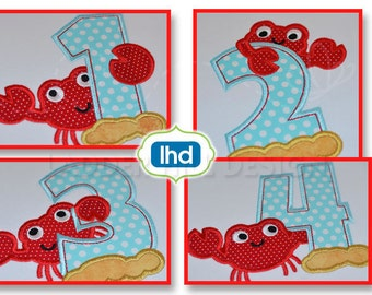 Crab Birthday Number Set Applique Design Machine Embroidery -- 1 thru 4 - Design BI023