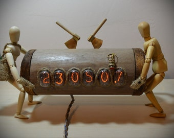 Nixie tube clock WOODCUTTER. ...woodcutters carry log,  to sell and buy a brandy...
