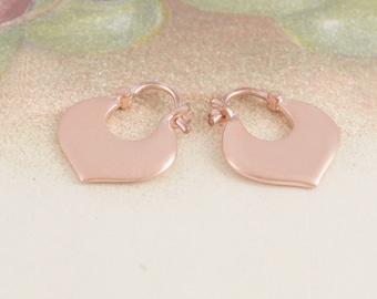 Rose Gold Hoop Earrings - Hoops - Boho Earrings - Hoop Earrings - Heart Earrings - Cute Earrings - Small Hoop Earrings - Drop Hoop Earrings