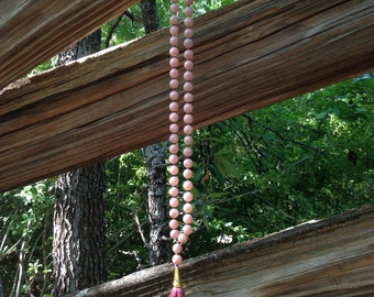 Light Pink & Maroon Tassel Necklace