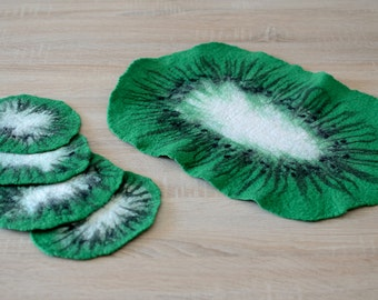 Green coasters, set of 5, natural kitchen table decor with kiwi design - felted wool coaster for home - modern handmade felt tabletop [H8]