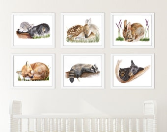 Sleeping Baby Animal, Woodland Nursery Prints, Set of 6, Baby Animal Prints, Woodland Nursery, Sleeping Animal, Wolf, Bunny, Fawn, Bear, Fox
