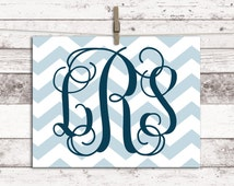 baby boy chevron nursery art - personalized little boys room decor - baby blue and navy nursery - print or canvas