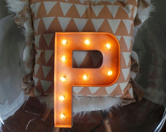 "SINGLE LETTER Plug in Light Up Marquee Sign - 12"" or 16"" and Custom Colors Available!"
