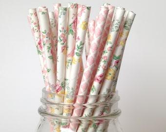 Floral Wedding Straws, Pink Floral Straws, Floral Baby Shower, garden party bridal shower straws blush pink damask Straws Lace Straws